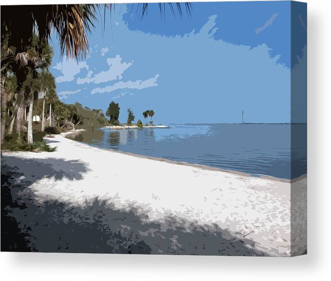 Castaway Canvas Print featuring the painting Castaway Point On The Indian River Lagoon With Coquina Rock by Allan Hughes