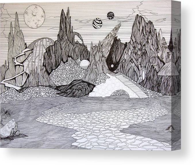 Ink Canvas Print featuring the drawing 3 Spheres by Doug Hiser