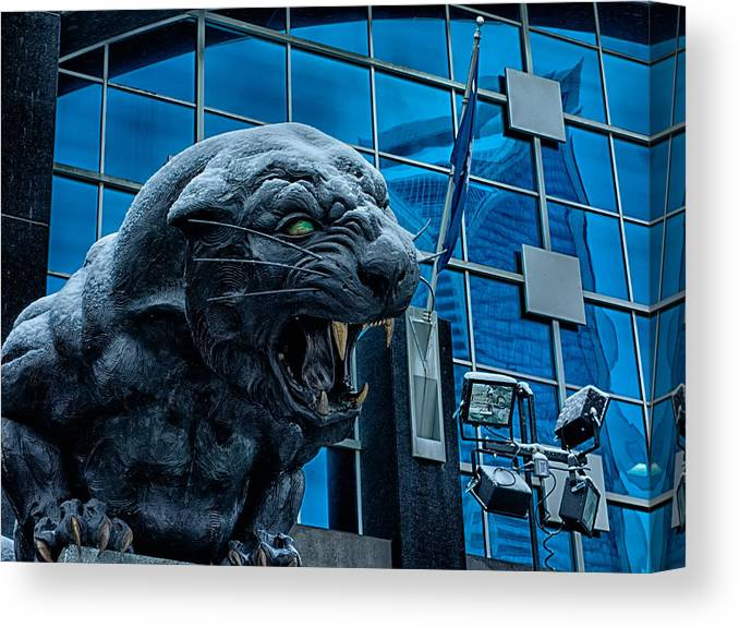 Carolina Canvas Print featuring the photograph Carolina Panthers Statue Covered In Snow by Alex Grichenko