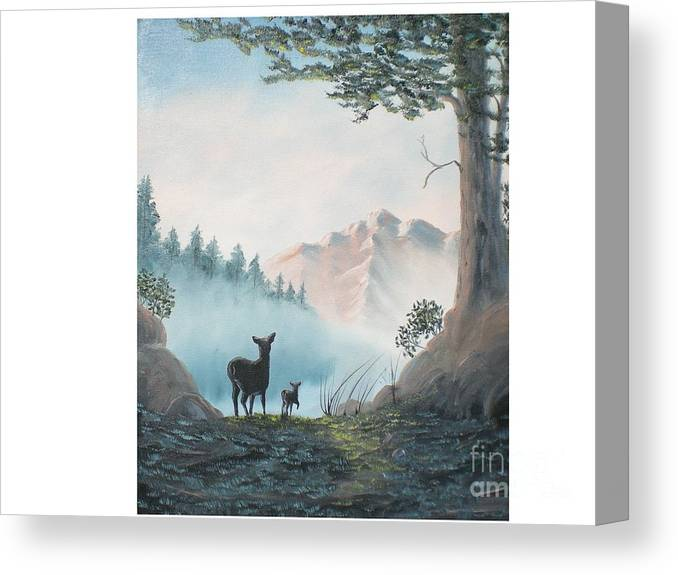 Mother And Fawn Deer In The Misty Mountain Canvas Print featuring the painting Deer In The Mist by Hal Newhouser