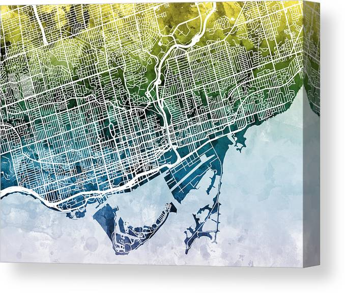 Street Map Canvas Print featuring the digital art Toronto Street Map by Michael Tompsett