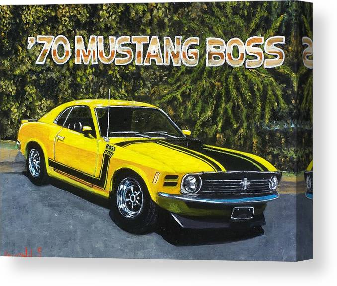 Hotrod Canvas Print featuring the painting 70 Mustang Boss by Charles Vaughn