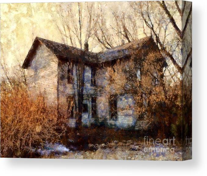 Farmhouse Canvas Print featuring the photograph A Haunting Melody - Old Farmhouse by Janine Riley