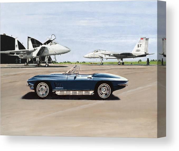 Corvette Canvas Print featuring the painting A Pilots Dream by Richard Herron