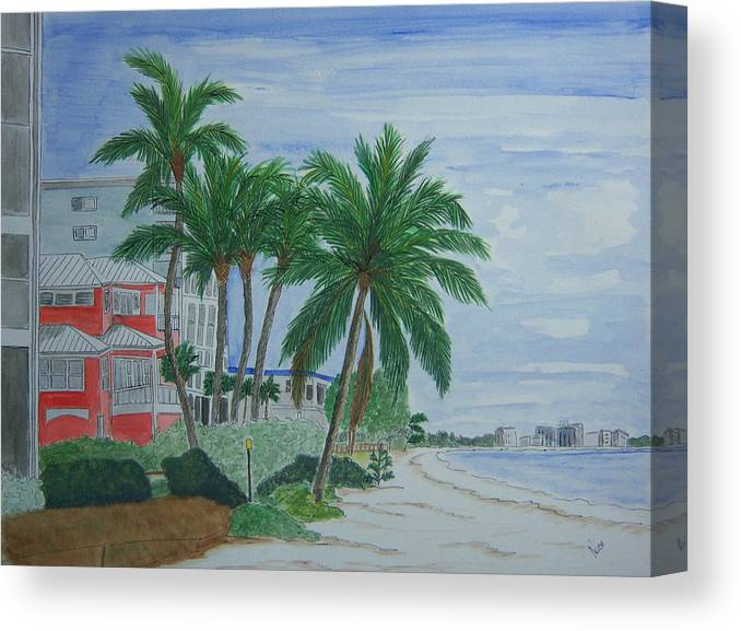 Beach Canvas Print featuring the painting A View Down Ft. Myers Beach by Nancy Nuce