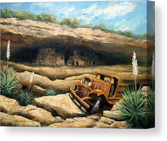 Landscape Canvas Print featuring the painting Abandoned by Brooke Lyman