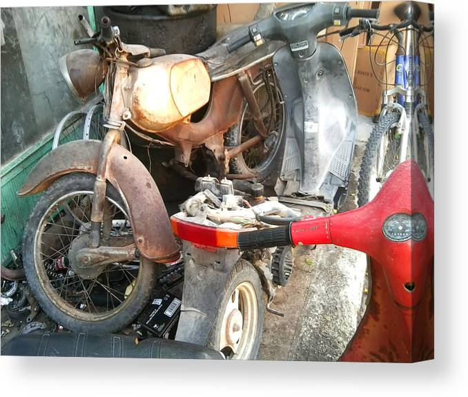 Mototbike Canvas Print featuring the photograph Abandoned Motorbike by Heather Lennox