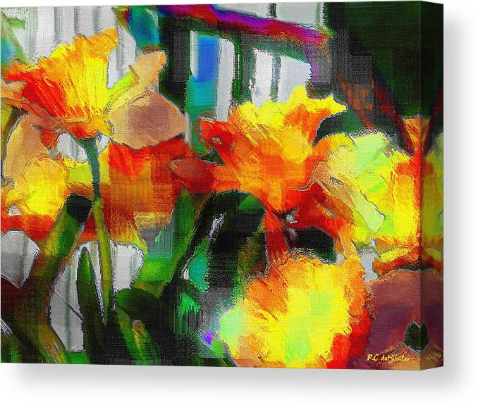 Absinthe Canvas Print featuring the painting Absinthe Daffies by RC DeWinter
