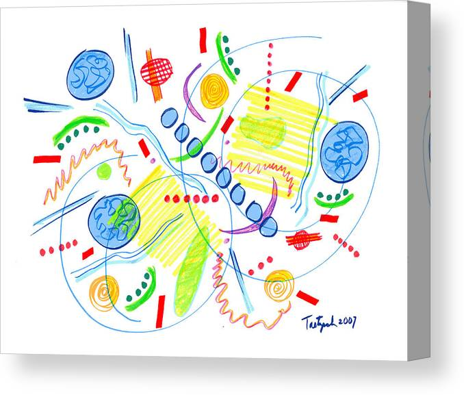 Abstract Canvas Print featuring the drawing Abstract Pen Drawing Twenty-seven by Lynne Taetzsch