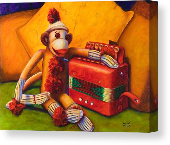 Children Canvas Print featuring the painting Accordion by Shannon Grissom