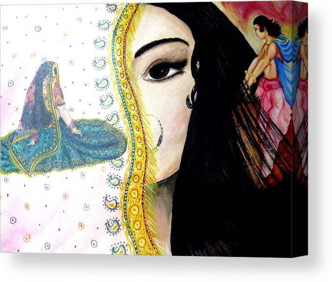 Couple Canvas Print featuring the painting Adoloscent Dream by Sujata Tibrewala