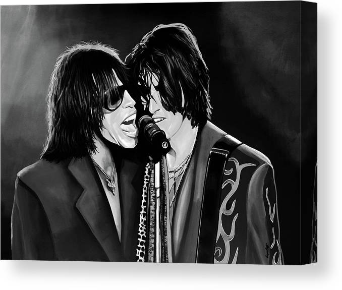 Steven Tyler Canvas Print featuring the mixed media Aerosmith Toxic Twins Mixed Media by Paul Meijering