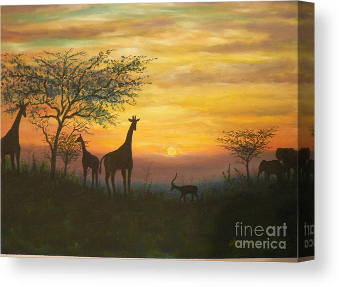 African Canvas Print featuring the painting African Sunset by Don Lindemann