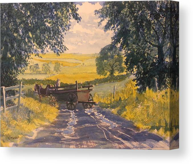 Glenn Marshall Yorkshire Artist Canvas Print featuring the painting After Rain On The Wolds Way by Glenn Marshall