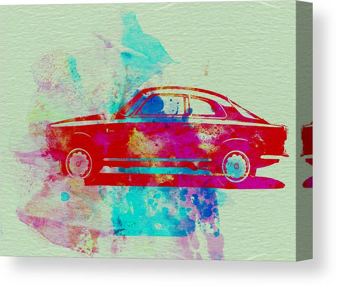 Alfa Romeo Gtv Canvas Print featuring the painting Alfa Romeo Watercolor 2 by Naxart Studio