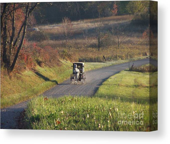 Amish Country Canvas Print featuring the photograph Amish Country Horse And Buggy In Autumn by Charlene Cox