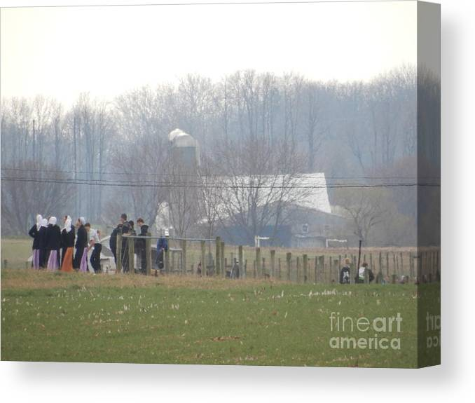 Amish Canvas Print featuring the photograph Amish Youth Gather After A Volleyball Game by Christine Clark