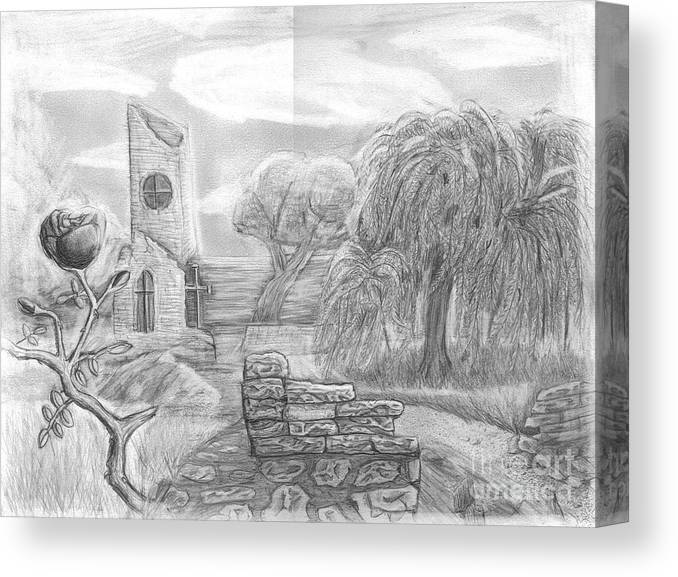Landscape Canvas Print featuring the drawing Ancient Church by Katie Alfonsi