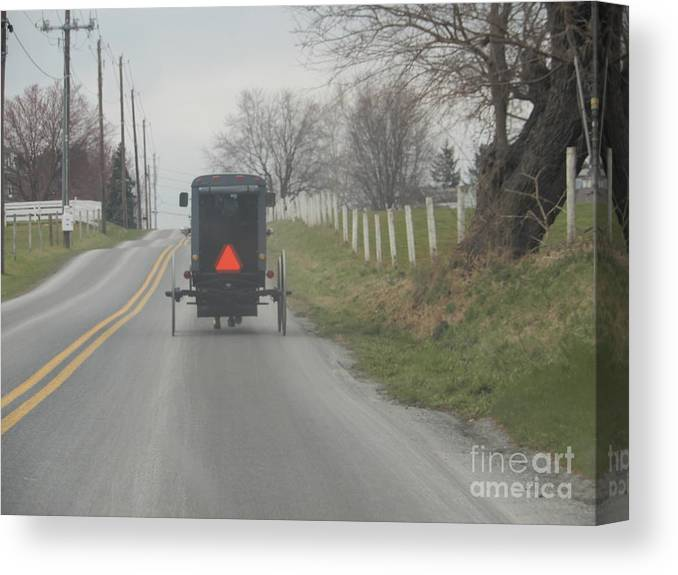 Amish Canvas Print featuring the photograph April Afternoon Buggy Ride by Christine Clark