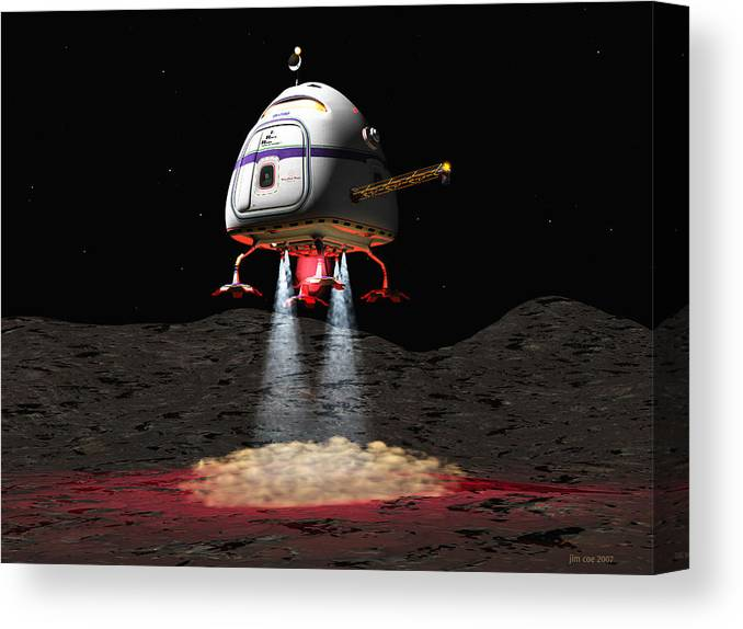 Jim Coe Canvas Print featuring the digital art Asteroid Miners Mule by Jim Coe