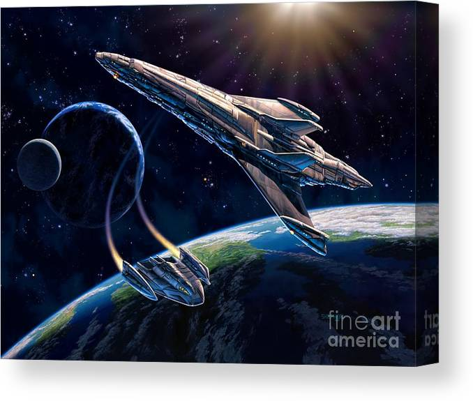 Space Ship Canvas Print featuring the painting At Corealla by Stu Shepherd