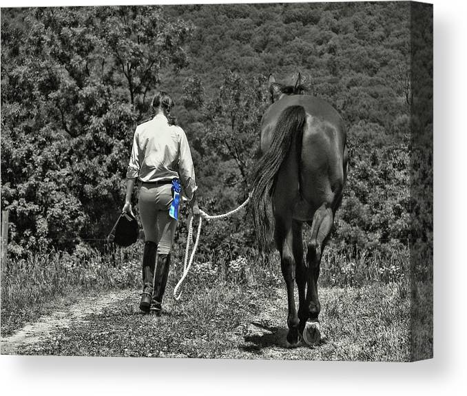 Horse Canvas Print featuring the photograph At The Show Blue Ribbon by JAMART Photography