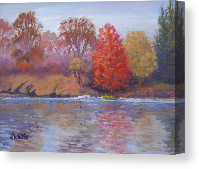 Autumn Canvas Print featuring the painting Autumn Hanging On by Judy Fischer Walton
