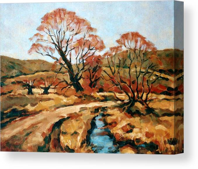 Landscape Canvas Print featuring the painting Autumn Landscape by Iliyan Bozhanov