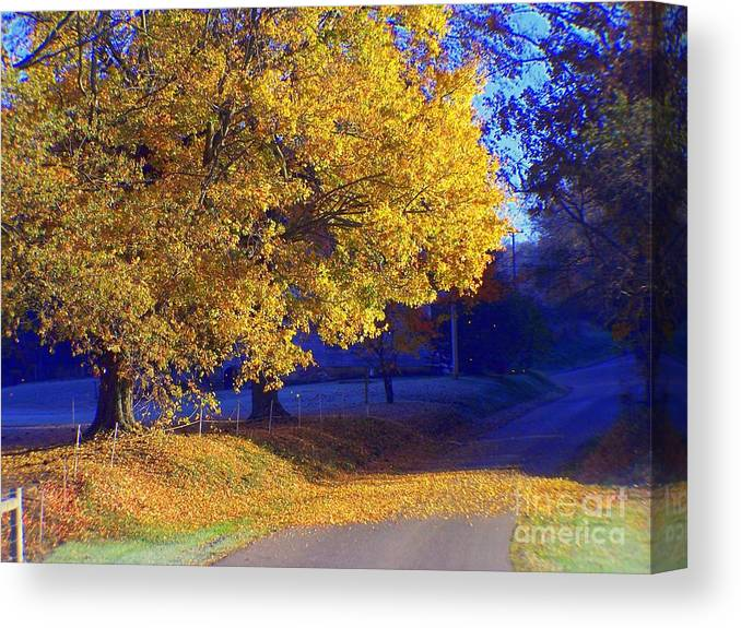 Autumn Canvas Print featuring the photograph Autumn Sunrise In The Country by Charlene Cox