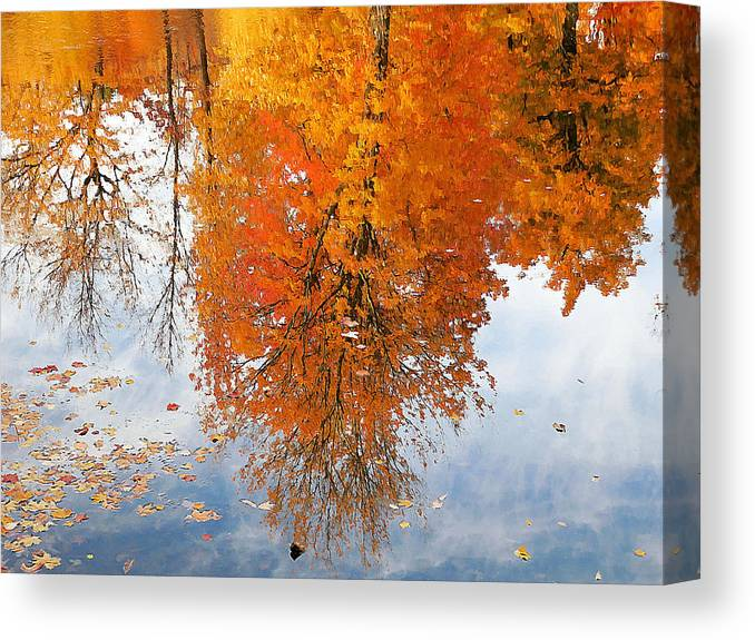 River Canvas Print featuring the painting Autumn With Colorful Foliage And Water Reflection 19 by Jeelan Clark