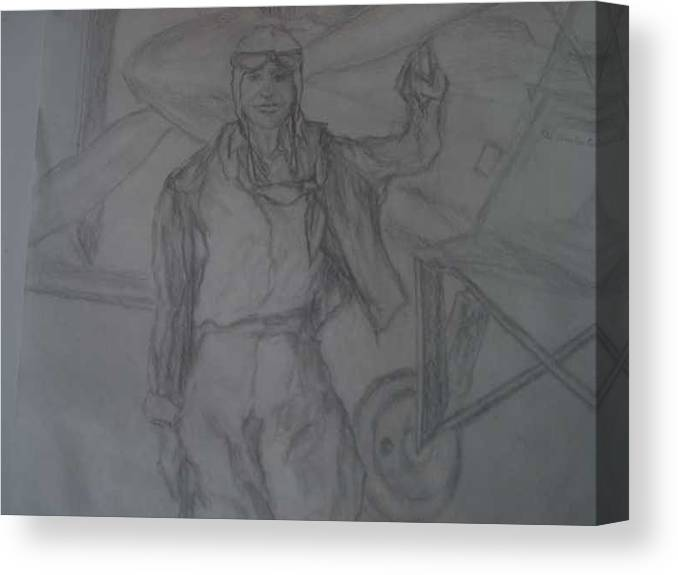 Airplanes Canvas Print featuring the drawing Aviatrix by Nancy Caccioppo