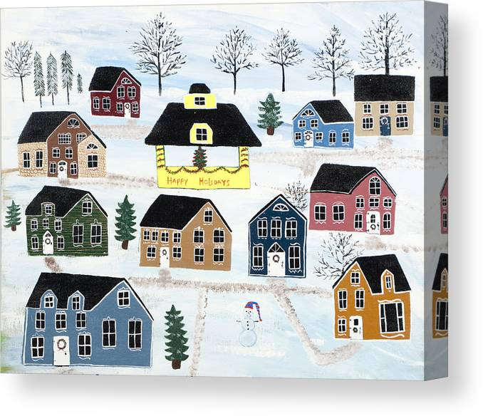 Christmas Canvas Print featuring the painting Awaiting Christmas In Glennawexton Park by Mike Filippello