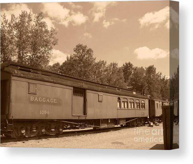 Trains Canvas Print featuring the photograph Baggage Car by Charles Robinson