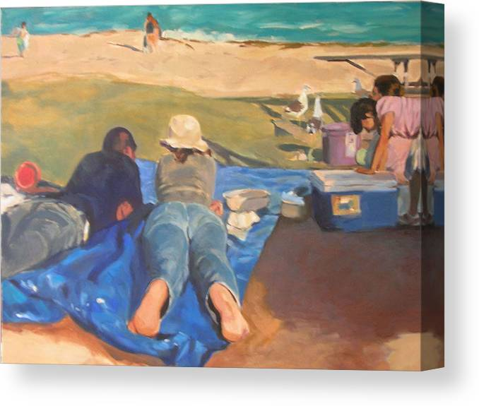 Beach Canvas Print featuring the painting Beach Picnic by Merle Keller