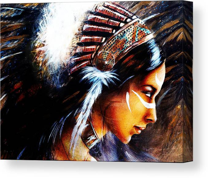 Beautiful Airbrush Painting Of A Young Indian Woman Wearing Canvas Print