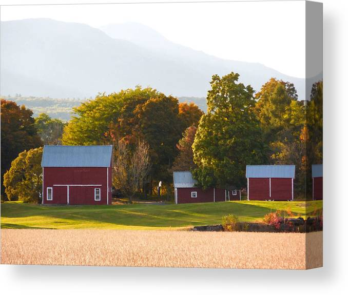 Beautiful Red Barn Canvas Print featuring the digital art Beautiful Red Barn 3 by Jeelan Clark