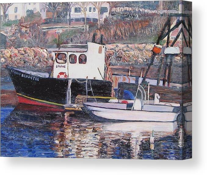 Boat Canvas Print featuring the painting Black Boat Reflections by Richard Nowak