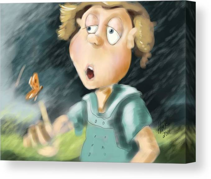Little Boy Blue Illustration Canvas Print featuring the painting Blowing In The Wind by Hank Nunes