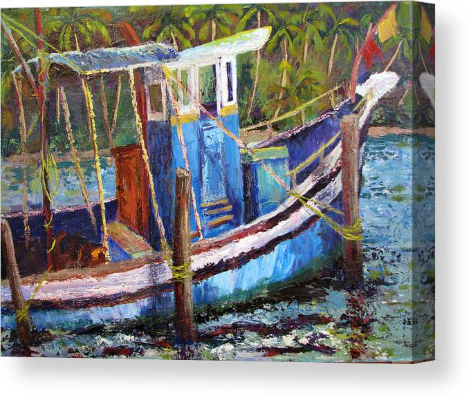 Fishing Canvas Print featuring the painting Blue Fishing Boat by Art Nomad Sandra Hansen