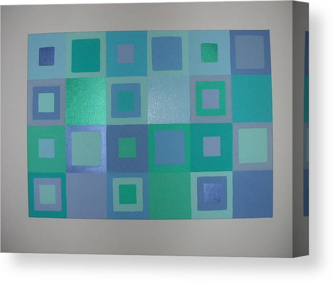 Pastel Blue Metallic Squares Painting Canvas Print featuring the painting Blue Skies by Gay Dallek