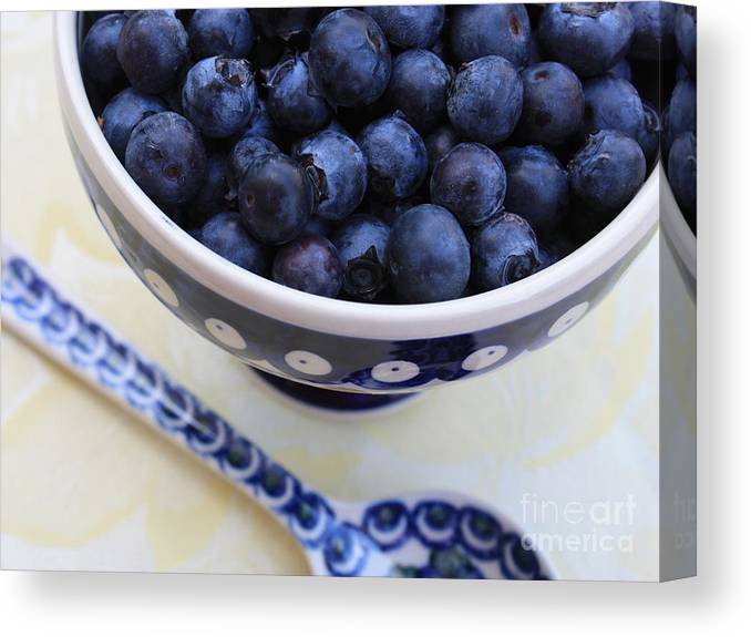 Food Canvas Print featuring the photograph Blueberries In Polish Pottery Bowl by Carol Groenen