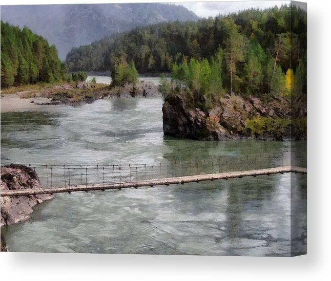 Bridge Canvas Print featuring the photograph Bridge Across Mountain River by Sergey Lukashin