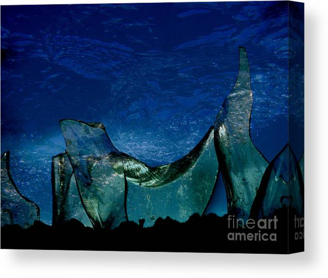 Glass Canvas Print featuring the digital art Broken Glass by Ola Leon