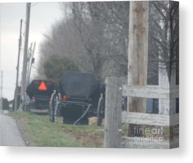 Amish Canvas Print featuring the photograph Buggies Parked At The Edge Of The Road by Christine Clark