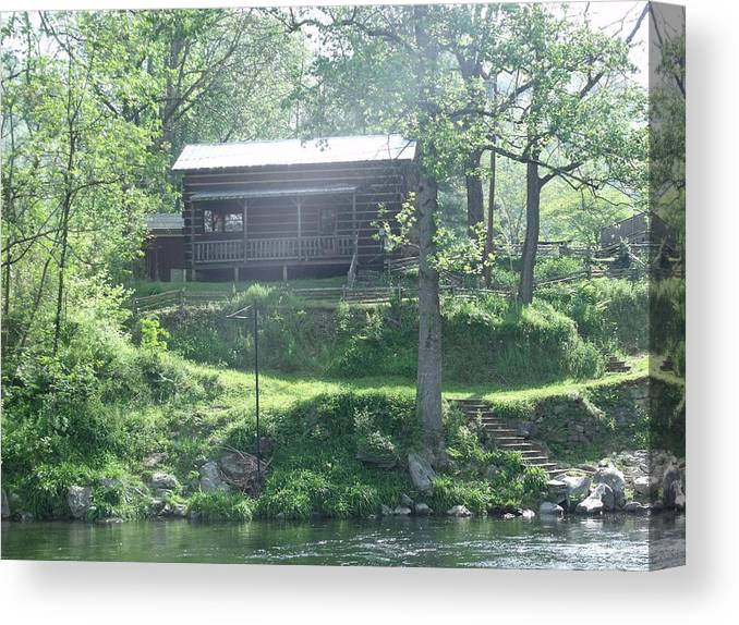 Cabins Canvas Print featuring the photograph Cabin In The Woods by Ann Robinson