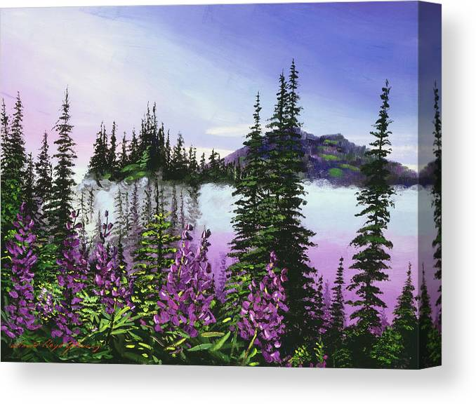 Mountains Canvas Print featuring the painting Canadian Sunrise by David Lloyd Glover