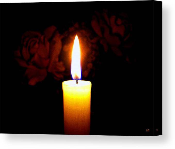 #candleflameroses Canvas Print featuring the photograph Candlelight And Roses by Will Borden