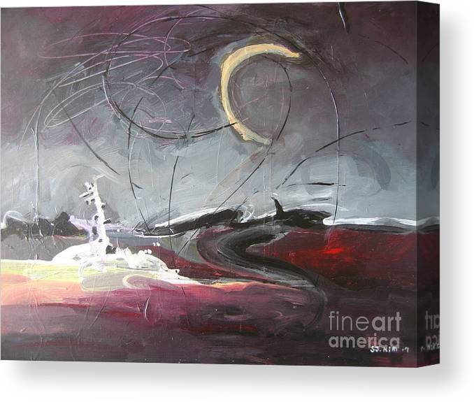 Abstract Paintings Canvas Print featuring the painting Cape St. Mary by Seon-Jeong Kim