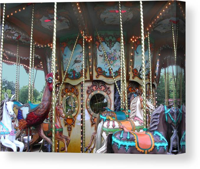 Carousel Canvas Print featuring the photograph Carousel With Mirrors by Anne Cameron Cutri