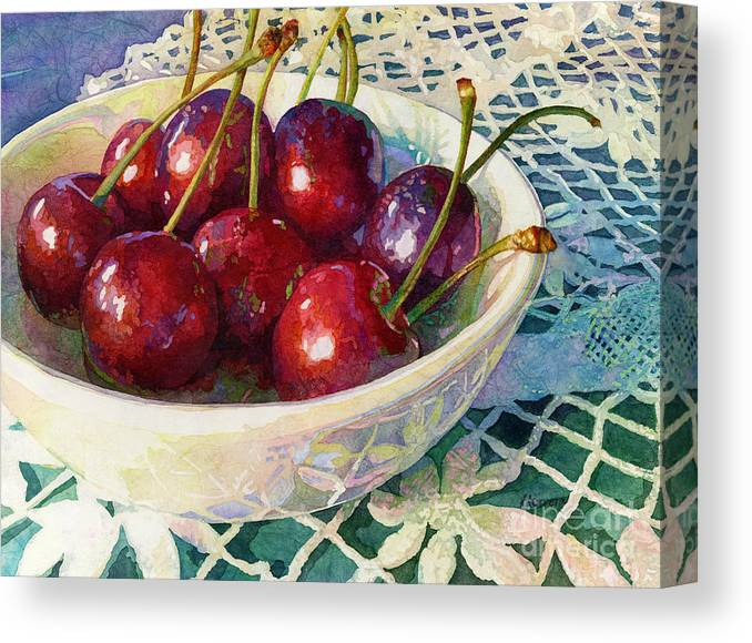 Cherry Canvas Print featuring the painting Cherries Jubilee by Hailey E Herrera
